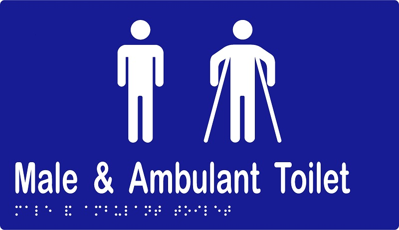 'Male & Ambulant Toilet' Sign: Braille