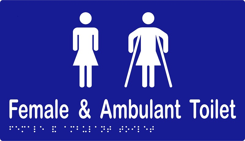 'Female & Ambulant Toilet' Sign: Braille