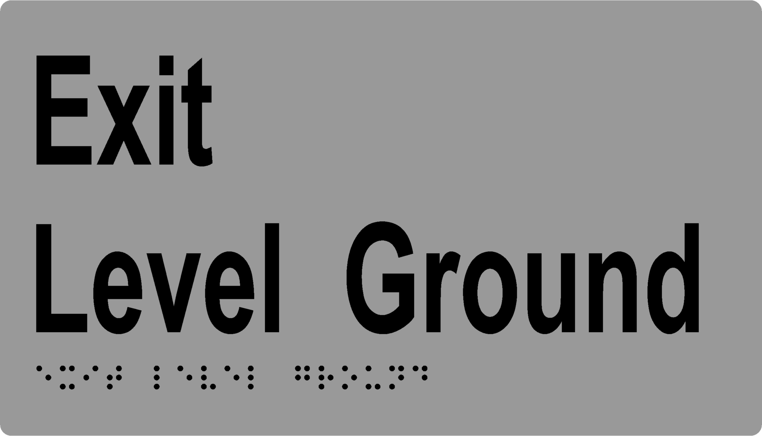 'Exit Level Ground' Sign: Braille