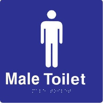 'Male Toilet' ABS Sign: Braille