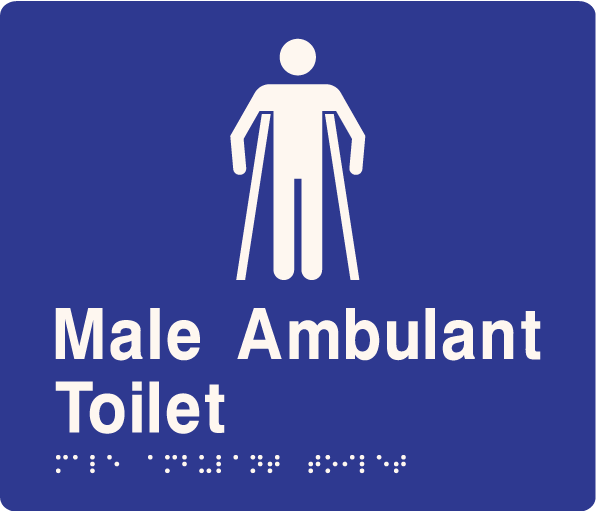'Male Ambulant Toilet' ABS Sign: Braille