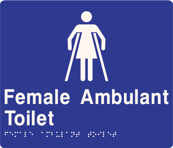'Female Ambulant Toilet' ABS Sign: Braille