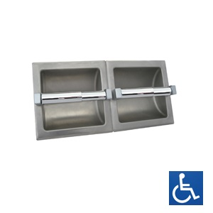 Stainless Steel Recessed Dual Toilet Roll Holder