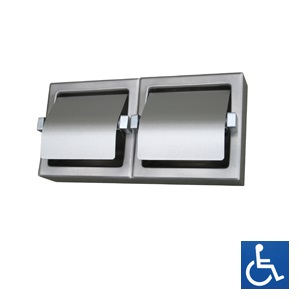 Stainless Steel Hooded Dual Toilet Roll Holder