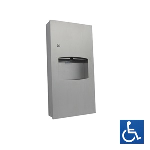 Recessed Stainless Steel Paper Towel Dispenser & Waste Receptacle