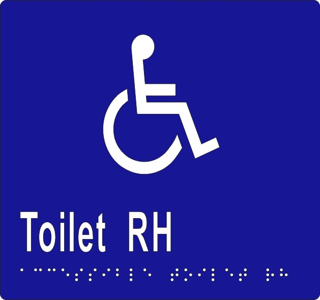 'Toilet RH' Accessible Sign: Braille