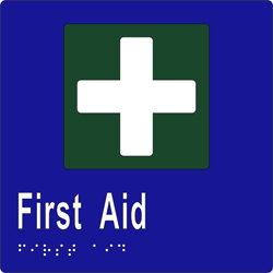 Sign, First Aid 150x150 BRAILLE