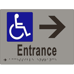 'Entrance' Accessible Arrow Sign: Braille