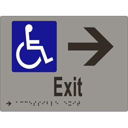 'Exit' Accessible Arrow Sign: Braille