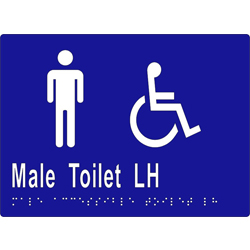 Male Sign, Male Accessible Toilet L/H 205x150 BRAILLE