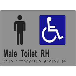 'Male Toilet RH' Sign: Braille