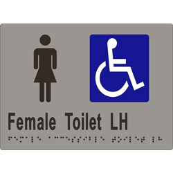 Female Sign, Female Accessible Toilet L/H 205x150 BRAILLE
