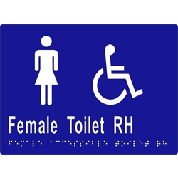 'Female Toilet RH' Sign: Braille