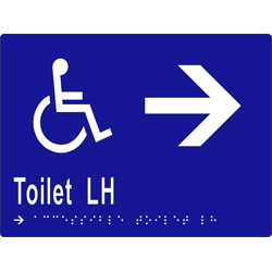 'Toilet LH' Accessible Arrow Sign: Braille