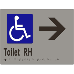'Toilet RH' Accessible Arrow Sign: Braille