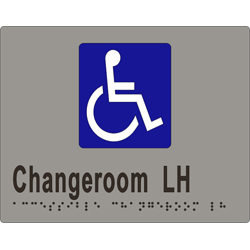 'Changeroom LH' Accessible Sign: Braille