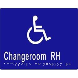 'Changeroom RH' Accessible Sign: Braille