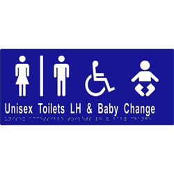 Unisex Sign, Accessible Toilet Divided. L/H and Baby Change 340x150 BRAILLE