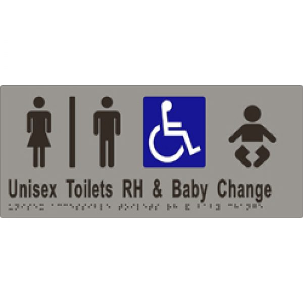 Unisex Sign, Accessible Toilet Divided. R/H and Baby Change 340x150 BRAILLE