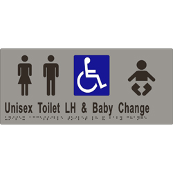 'Unisex Toilet LH & Baby Change' Accessible Sign: Braille