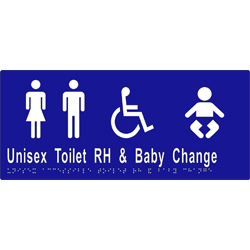 'Unisex Toilet RH & Baby Change' Accessible Sign: Braille
