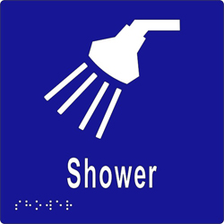 Sign, Shower 150x150 BRAILLE