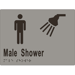 Male Sign, Male Shower 200x150 BRAILLE