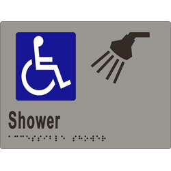 'Shower' Accessible Sign: Braille