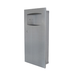 Paper Towel Waste Receptacle, Recessed & SM = Surface Mount