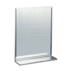 Stainless Steel Framed Safety Glass Mirror & Shelf
