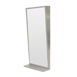 Stainless Steel Framed Tilt Mirror & Shelf
