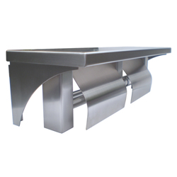Stainless Steel Dual Toilet Roll Holder and Shelf