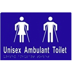 Unisex Sign, Ambulant Toilet 220x150 BRAILLE