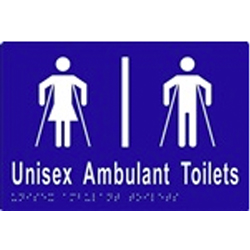 'Unisex Ambulant Toilets' Sign: Braille