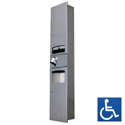 Recessed Disabled Paper Towel Dispenser, Automatic Hand Dryer & Waste Receptacle
