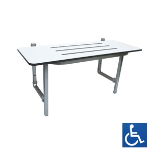 White Laminate & Stainless Steel Folding Shower Seat: 960mm x 410mm