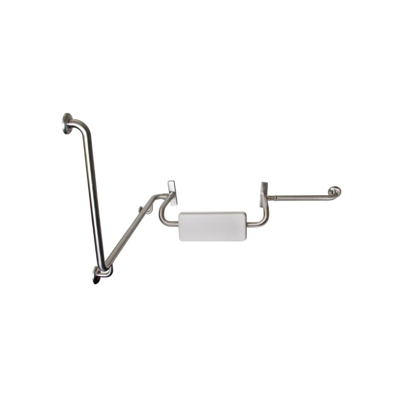 Disabled Toilet Grab Rail with Integrated Padded Back Rest, R/H – SSS