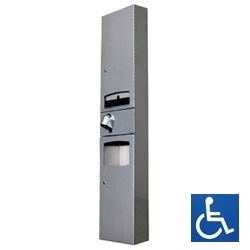 Surface Mounted, Disabled Paper Towel Dispenser, Hand Dryer and Waste Receptacle