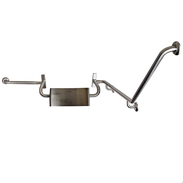 Disabled Toilet Grab Rail with SSS integrated Back Rest Vandal Proof L/H- SSS