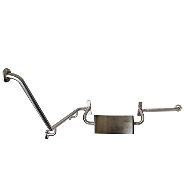 Disabled Toilet Grab Rail with SSS integrated Back Rest, Vandal Proof R/H – SSS