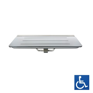 White Laminate & Stainless Steel Folding Shower Seat: 960mm x 397mm