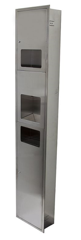 Recessed Paper Towel Dispenser, Eco Hand Dryer & Waste Receptacle
