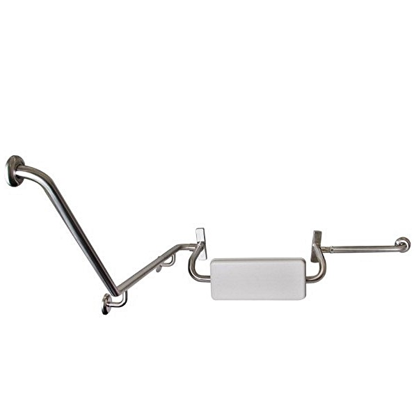 Disabled Toilet Angled Grab Rail with Integrated Padded Back Rest, R/H – SSS