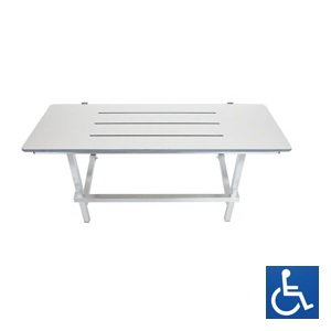 Off-White Phenolic & Stainless Steel Folding Shower Seat: 960mm x 410mm