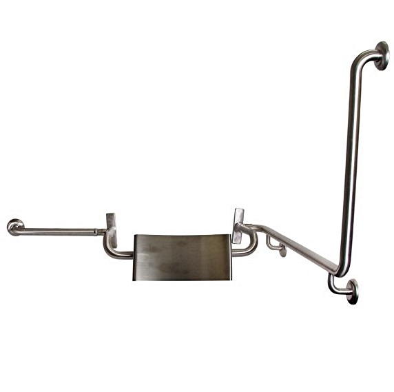 Disabled Toilet Grab Rail with SSS integrated Back Rest, Vandal Proof L/H – SSS